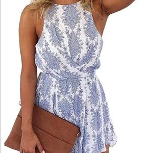 Blue and white patterned romper